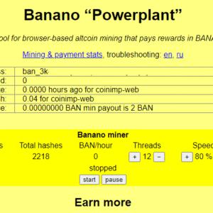 Banano Powerplant Web Miner